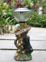 Single fashion resin craft decoration dog birds solar lights