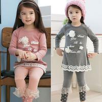 free shipping 2014 spring and autumn girls clothing letter child long-sleeve T-shirt legging set