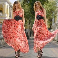 New Fashion Women's Dresses 2014 Summer Chiffon Print Formal Vest Expansion Female Dress With Belt