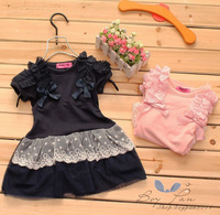 Free Shipping New Vogue Kid Toddler Girls Clothing Bowknots Tulle Lace Princess Dress18M-6Y
