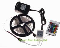 5m/lot wholesaler 3528 RGB LED Strip Flexible Light Lamp 5M 300 Led SMD IR Remote Controller 12V 2A Power Adapter