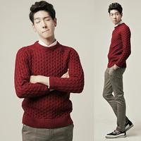 Preppy style o-neck slim thick delicate stripe sweater claretred a308