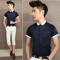 Fashion high quality color block chain male slim all-match navy blue short-sleeve shirt 1114