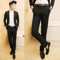 Classic slim all-match easy care pants straight barrel set pants black h04-1