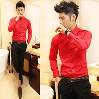 Fashion 100% cotton black button all-match 8 shirt slim male sistance h19