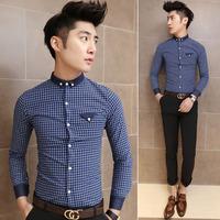 Fashion pocket unique fashion slim plaid shirt male long-sleeve c008
