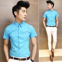 Fashion classic fashion multi-color 100% cotton button male slim short-sleeve shirt lake blue 1126