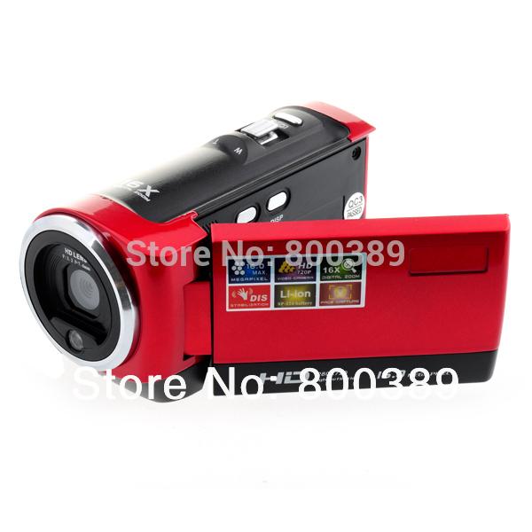 2.7'' LCD Anti-shake Digital Camera 720P Video Recorder Max 16Mega Pixel 16X Zoom Rechargable Battery Red/Black Free Shipping(China (Mainland))