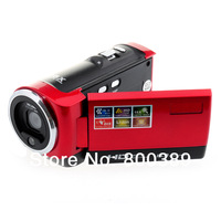 2.7'' LCD Anti-shake Digital Camera 720P Video Recorder Max 16Mega Pixel 16X Zoom Rechargable Battery Red/Black Free Shipping