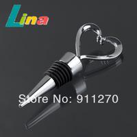 20pcs/lot Universal Stainless Steel Heart Wine Bottle Stopper Heart Core Shape Wine Stopper