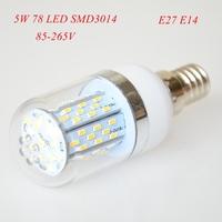 4pc/lot High Power 5W E27 E14 3014 SMD 78 LED Corn Bulbs AC85-265V Warm White/ White Super Bright