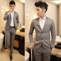 Fashion vintage male double buckles slim plaid suit grey a201