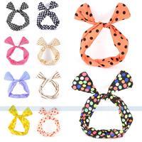 New Hot Cute Dot Striped Girls Wire Bow Rabbit Ear Ribbon Fashion Hair Headband Women Hair Band for free shipping