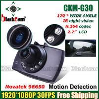 2014 New Novatek 96650 Dashboard Camera Video Recorder G30 Car DVR Black Box 2.7inch LCD + 170 Degree Wide Angle + G-sensor + IR
