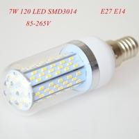 2pc/lot High Power 7W E27 E14 3014 SMD 120 LED Corn Bulbs AC85-265V Warm White/ White Super Bright