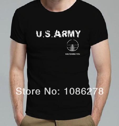 2014 New Man USA Navy team Watching You Short Sleeve T Shirts Seal Team Shirts Custom Letter Printing T Shirts Design T Shirts(China (Mainland))
