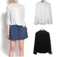 Women Basic Chiffon Blouse Sheer Top Casual Foldable Sleeve Loose Shirt Blouse