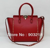 luxury brand fashion handbag lady rockstud shoulder bag women rockstuds tote bag in red nappa leather