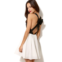 Free shipping new 2014 black and white  color block cross bow decoration chiffon dress one-piece casual dress