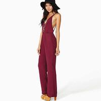 top 2014 fashion van paragraph of street fashion sexy racerback V-neck spaghetti strap chiffon jumpsuit S-XXXL free shipping