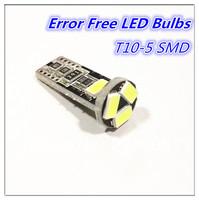 Wholesale 10pcs/Lot Canbus T10 5smd 5630 LED car Light Canbus W5W 194 5630 SMD Error Free White Light Bulbs
