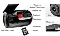 Car Dash Cam Smallest HD 720P CAR DVR A8 with mic switch and 120 degree wide-angle,car video recorder support G-Sensor