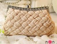 New 2014 wedding diamond silk pleated women's handbag evening bag women clutch banquet organizer bag rhinestone Party Gift