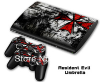 vinyl decal Skin Sticker for PS3 super  slim for PS3 Slim 4000 and 2 controller skins-094 Resident Evil Umbrella