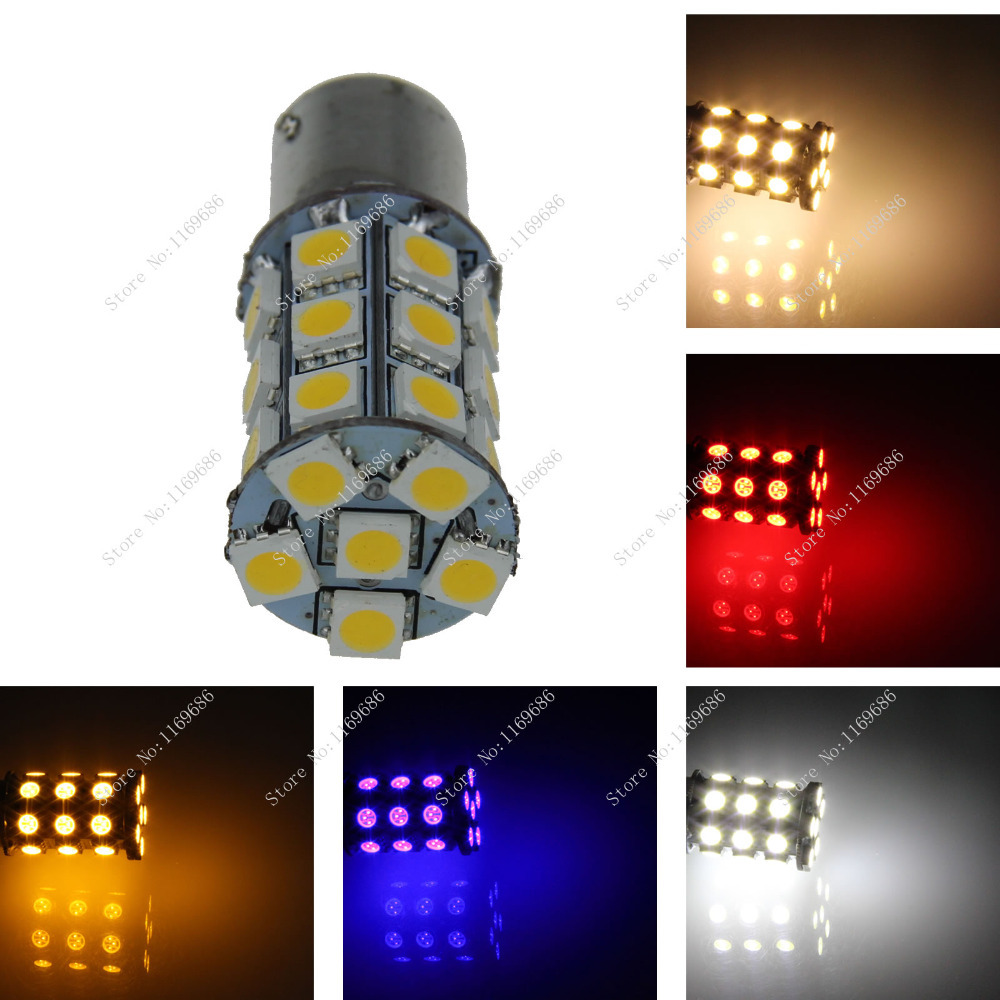 D007 Car White Red Blue Green Amber Pink 27 SMD 5050 LED 1156 BA15S P21W Trun Signal Light Instrument Bulb Indicator Lamp 12V(China (Mainland))