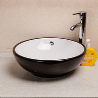 Two-color glaze counter basin circle black-and-white washbasin