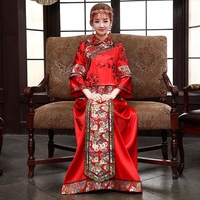 Quality 2014 wedding cheongsam show dress evening clothes pratensis dragon gown chinese style formal dress the bride married