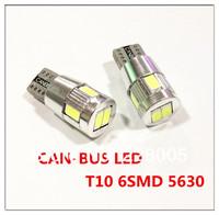 2PCS/LOT free shipping T10 6 LED SMD 5630 FREE ERROE T10 194 CAR LIGHT W5W CANBUS LED T10 LED CANBUS