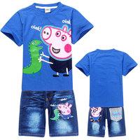 New 2014 peppa pig boys clothing set, summer T shirt+jeans shorts, 100% cotton, Wu Children Clothing Free Shipping