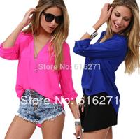 New 2014 spring summer v-neck  women chiffon blouse plus size Fashion blouses  free shipping B027 size M-XL