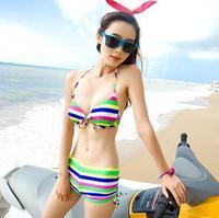 2014 new fashion unique sexy women push up vs bikini swimwear striped coloured brazilian swimsuit bikinis set for womens KR628