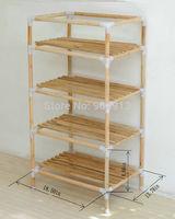 quality goods,YJJ-4 The original wood multifunctional shelf, shoe rack, flower shelf, Six tiers of storage