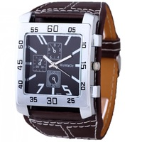 New Free Shipping Stylish Accurate 4Colors for Choose Leatheroid Band Quartz Rectangle Shape Unisex Casual Wrist Watch