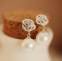 Korean fashion zircon rose pearl earrings women ethnic stud earrings free shipping 0463