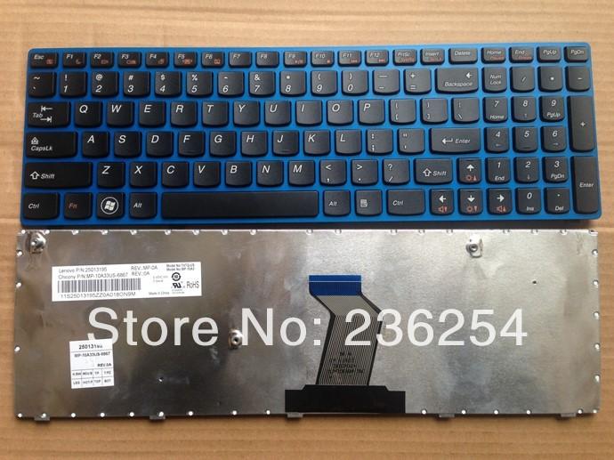 The New US laptop keyboard for Lenovo G570 B570 V570 Z570 Black wtih blue frame MP-10A33US-6867 25013195(China (Mainland))
