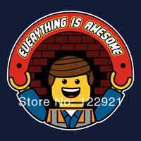 High Quality LEGO Everything is AWESOME! game jogos100% Cotton Casual Fashion Print  t shirt T-shirt Tee dress camiseta cloth