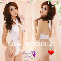 new 2014 Body Suit Sexy white one piece elastic women fun underwear lutun halter-neck tight-fitting game service set