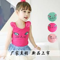 Wholesale-Free Shipping Girl's Tank Vest 2014 Summer Female Children Cartoon Vest 100% Cotton Girl's Tops