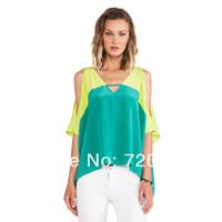 Lemon yellow mint green chiffon strapless patchwork o-neck short-sleeve loose chiffon shirt female haoduoyi
