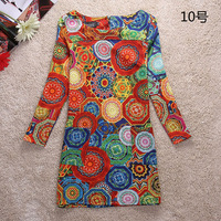 Spring 2014 Winter Dress Vintage Style Women Dress long Sleeve Print flower casual dress plus size women clothing
