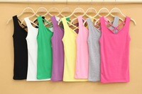 Free shipping  MIX ORDER whosale  New spring and summer 2014 Korean  the V-neck vest back cross petals  10PC/LOT ,Free size HY08
