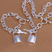 S083 925 silver jewelry set,classic style,fashion jewelry,Nickle free women,chains, Lock And Key To Two-Piece Jewelry Sets
