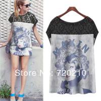 Fashion women's 2014 figure graphic patterns patchwork print sleeveless chiffon shirt t-shirt