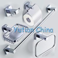 Free shipping,304# Stainless Steel Bathroom Accessories Set,Robe hook,Paper Holder,Towel Bar,Soap basket,bathroom sets,YT10700-5