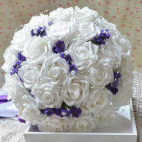 Oct Sale Free shipping high quality White Bribe bouquet of flowers wedding Bride wedding holding flowers  30 PE rose