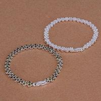 S133 925 silver jewelry set,fashion jewelry,Nickle free women,chains Inlaid Green White Crystal Bracelet Jewelry Sets